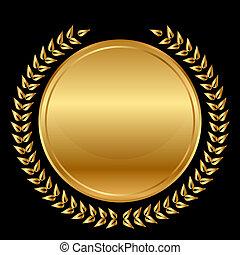 laurels, medalla, negro, oro