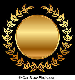 laurels, vecteur, noir, or