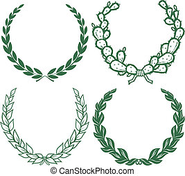 A collection of four, green laurel wreaths