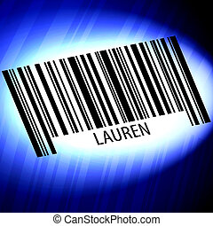 Lauren - barcode with futuristic blue background