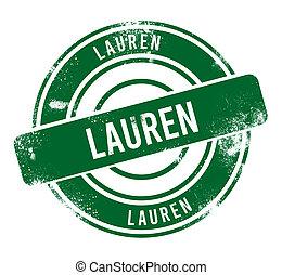 Lauren - green round grunge button, stamp