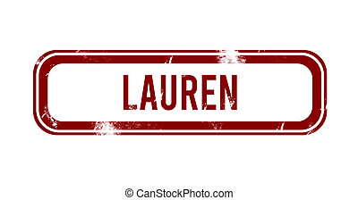 Lauren - red grunge button, stamp
