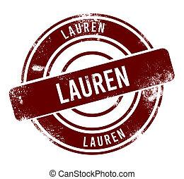 Lauren - red round grunge button, stamp