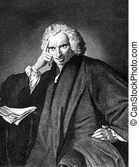 Laurence Sterne (1713-1768) on engraving from 1859....