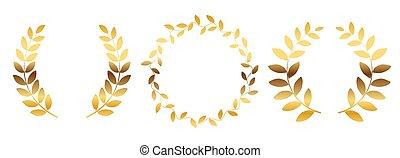 laurier, ensemble, collection, illustration, blanc, couronne, isolé, arrière-plan., silhouette, vecteur