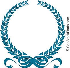 laurier, heraldisch, krans, linten