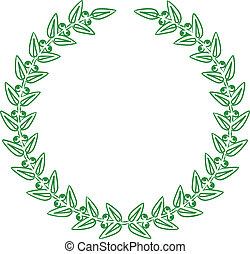 laurier, vector, groene, illustratie