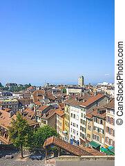 Lausanne skyline view to Geneva Lake in summer
