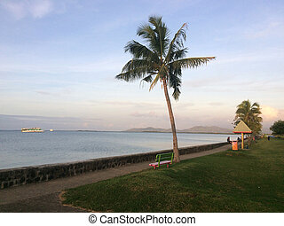 Lautoka waterfront, Viti Levu, Fiji. Lautoka is the second largest city and the second port of entry in Fiji, after Suva. The city located in the west part of Fiji main island, Viti Levu.