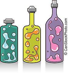 lava, bottles., improvisado, lamps.