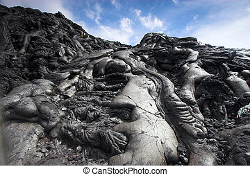 Close up of black lava swirl in Hawaii Volcanoes National Park