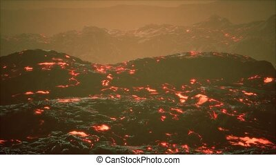 lava fields and hills at active volcano