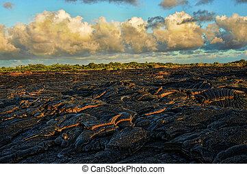 Lava flow under pacific skies