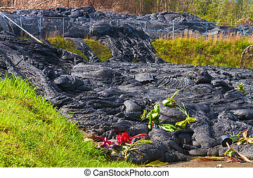 Lava flow - Gifts left for Hawaiian goddess Pele at the site...