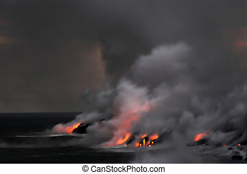 Lava flowing into the ocean - Lava erupting into Pacific...