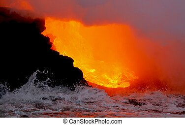lava, flytande, in i, den, ocean