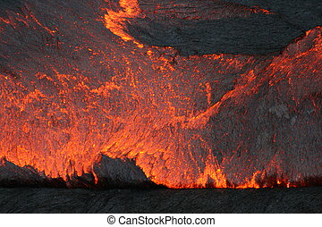 Lava lake surface - Hawaii Kilauea volcano