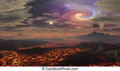 Lava landscape on the planet aliens