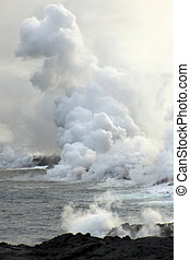 lava, océano, fluir