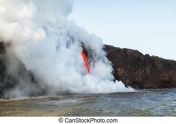 Lava pours into the ocean in Hawaii