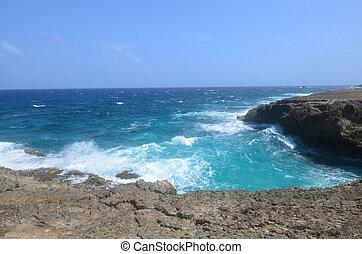 Lava Rock Cliffs and Crashing Ocean Waves in Aruba