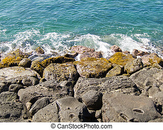 Lava Rocks in the Surf