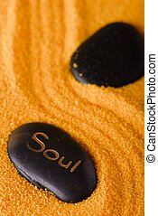 Lava stone with lettering Soul in sand