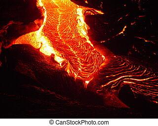 lava, strömend