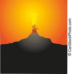 lava, warme, vector, uitbarsting, illustratie, vulkaan