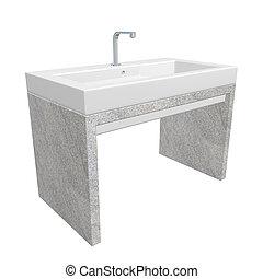 lavabo, conjunto, ilustración, cromo, moderno, base, aislado...