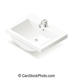 lavabo, isométrico, icono
