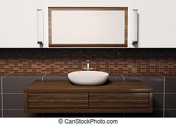 lavabo, miroir, 3d