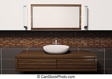 lavabo, y, espejo, 3d
