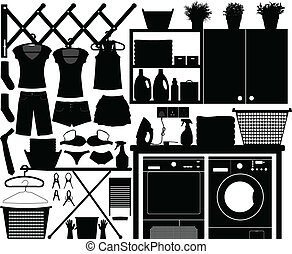 lavadero, diseño, conjunto, vector