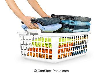 lavadero, encima, doblado, plano de fondo, cesta, blanco, ...