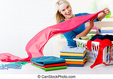lavadero, mujer, -, ropa plegable