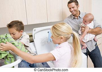 lavadero, padre niños