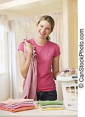 lavadero que dobla, mujer