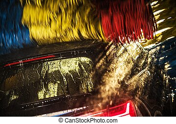lavado, coche, moderno, automático