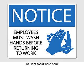 lavado, empleados, manos, señal