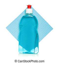 lavado, líquido, y, esponja