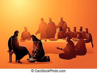 lavado, pies, jesús, apóstoles