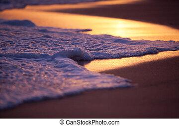 lavado, superficial, arena, onda, campo, profundidad, ocaso