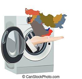 lavadora, medio, limpieza, limpio, este