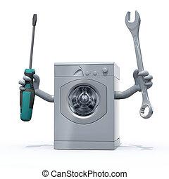 lavadora roupa, com, braços, e, ferramentas, ligado, mãos