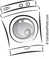 lavadora roupa, em, preto branco