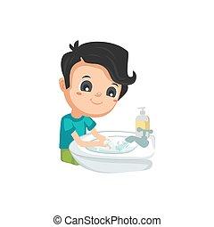 lavage, bon, -, habitudes, mains