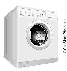 lavage, illustration., isolé, machine, vecteur, fond, blanc
