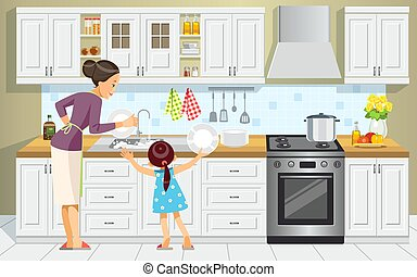 lavage, mieux, style, day., elle, mom., dessin animé, plats, maternité, aide, concept, vecteur, mère, kitchen., dishes., famille, illustration, child-rearing., fille, girl, maman, mère