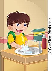 lavage, peu, mains, garçon
